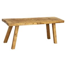 Antique Primitive Slab Wood Coffee Table with Natural Patina and Square Peg Splay Legs