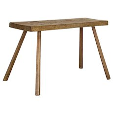Antique Primitive Slab Wood Console Table with Splay Legs