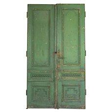 Antique 8.5' Tall Original Green Painted Doors