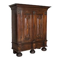 Antique Baroque Dark Oak Armoire With Heavily Paneled Doors from Denmark