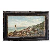 Large Antique Original Oil on Canvas Painting of Sailboat Seascape Along Rocky Shoreline, Signed