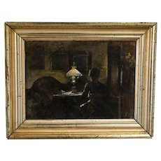 Antique Original Oil on Canvas Petite Painting of Woman At Writing Desk