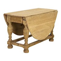 Antique Natural Oak Gate Leg Table Console Table from Denmark