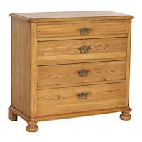 Antique Pine Chest of Four Drawers from Denmark