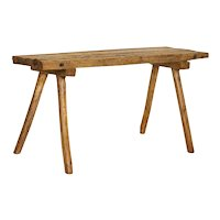 Antique Rustic Slab Wood Console Table With Splay Legs