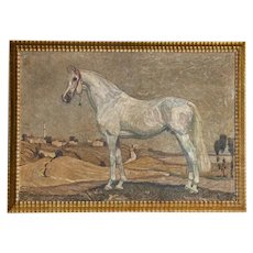 Original Oil on Canvas Painting of White Arabian Horse Signed Georg Lebrecht