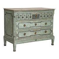 Antique Large Blue Painted Swedish Chest of Drawers With Greek Key Design