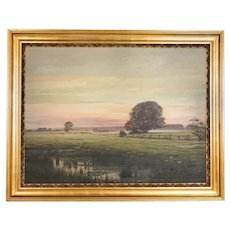 Antique Large Original Oil on Canvas Landscape Painting At Sunset Signed by Adolph Larsen
