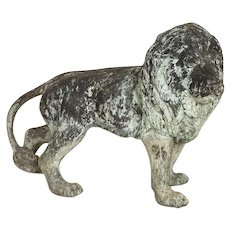 Vintage Cast Iron Lion Garden Sculpture with Aged Verdigris Finish