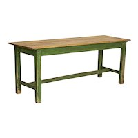 Antique Original Green Painted Farm Trestle Table, Dining or Console