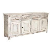 Antique Large White Painted Sideboard Buffet from Sweden