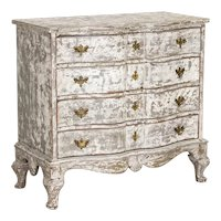 Antique White Painted Swedish Chest of Drawers