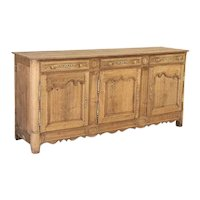 Antique French Bleached Oak Long Sideboard