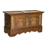 Antique Original Hand Painted and Carved Trunk Console Table
