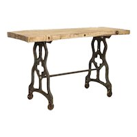 Rustic Antique Console Table With Cast Iron Industrial Legs