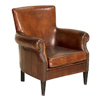 Original Vintage Leather Club Chair With Contrasting Piping
