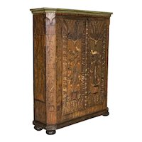 Antique Original Hand-Painted Narrow Armoire With Birds, Flowers and Vines
