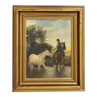 Original Oil on Canvas Painting of Horse Led Through Stream Signed Otto Bache