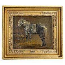 Original Oil on Canvas Painting of Dapple Gray Horse signed Simon Simonsen