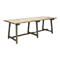 Original Green Painted Antique Long Work Table Farmhouse Dining Table from Sweden