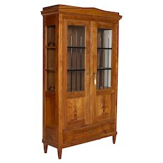 Antique Biedermeier Elm Bookcase Display Cabinet With Glass Side Panels