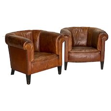 Pair, Small Scale Vintage Leather Club Chairs From England