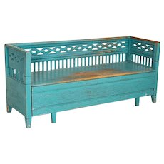 Antique Original Blue Painted Bench from Sweden