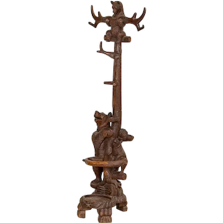 Original Antique Black Forest Carved Coat Stand With Bear and Two Cubs