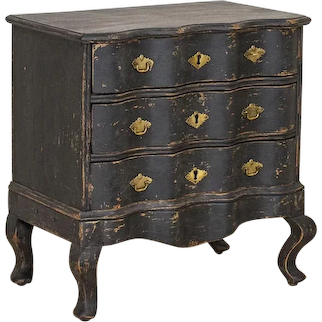 Antique Black Painted Small Chest of Drawers or Nightstand