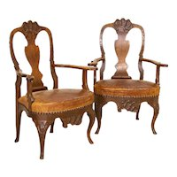 Antique Pair of Carved Arm Chairs With Vintage Leather Seats