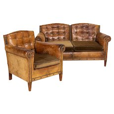 Authentic Vintage Leather Club Chair and Loveseat from Sweden