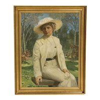 Large Original Oil on Canvas Portrait of Lady Sitting on Park Bench, signed by Carl Forup, Denmark