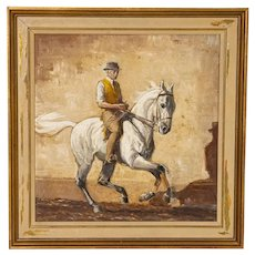 Original Oil on Panel Painting of Trainer On A White Race Horse, signed John Sjovard