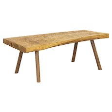Vintage Slab Wood Coffee Table With Peg Splay Legs from Hungary
