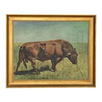 Original Oil on Canvas Painting of Bull in Field, signed Gunnar L., dated 1922