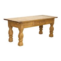 Antique Baroque Farm Table With Drawer