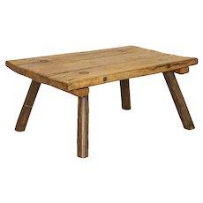 Rustic Vintage Slab Plank Coffee Table with Splay Peg Legs