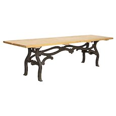 Vintage Long 10' Farm Table With Industrial Iron Base