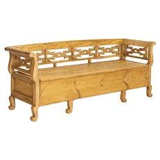 Antique Pine Swedish Maid's Bench Storage Bench