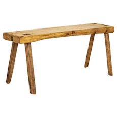 Vintage Slab Wood Plank Console Table With Splay Peg Legs