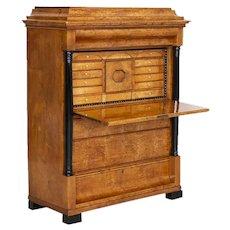Antique Biedermeier Birch Secretary Bureau from Sweden