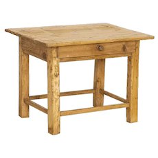 Antique Small Rustic Pine Side Table With Drawer