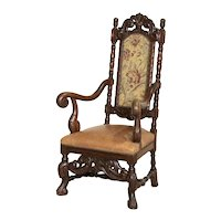 Antique Baroque Carved Armchair With Leather Seat and Upholstered Back