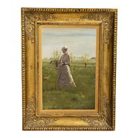 Original Small Oil Painting of Woman On A Summer Day, unsigned