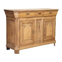 Antique Bleached Oak Tall French Sideboard