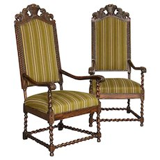 Pair, Tall Antique Baroque Carved Armchairs from Denmark