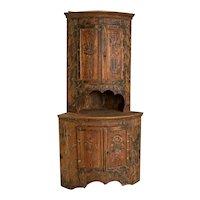 Original Antique Painted Corner Cabinet from Sweden
