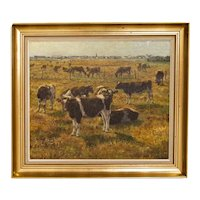 Original Oil on Canvas Painting of Herd of Cattle in Pasture, Signed W. Zier
