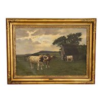 Original Oil on Canvas Painting of Cows in Pasture, Signed Poul Steffensen from Denmark