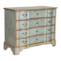 Antique Large Blue Painted Chest of Drawers With Gold Trim, Sweden